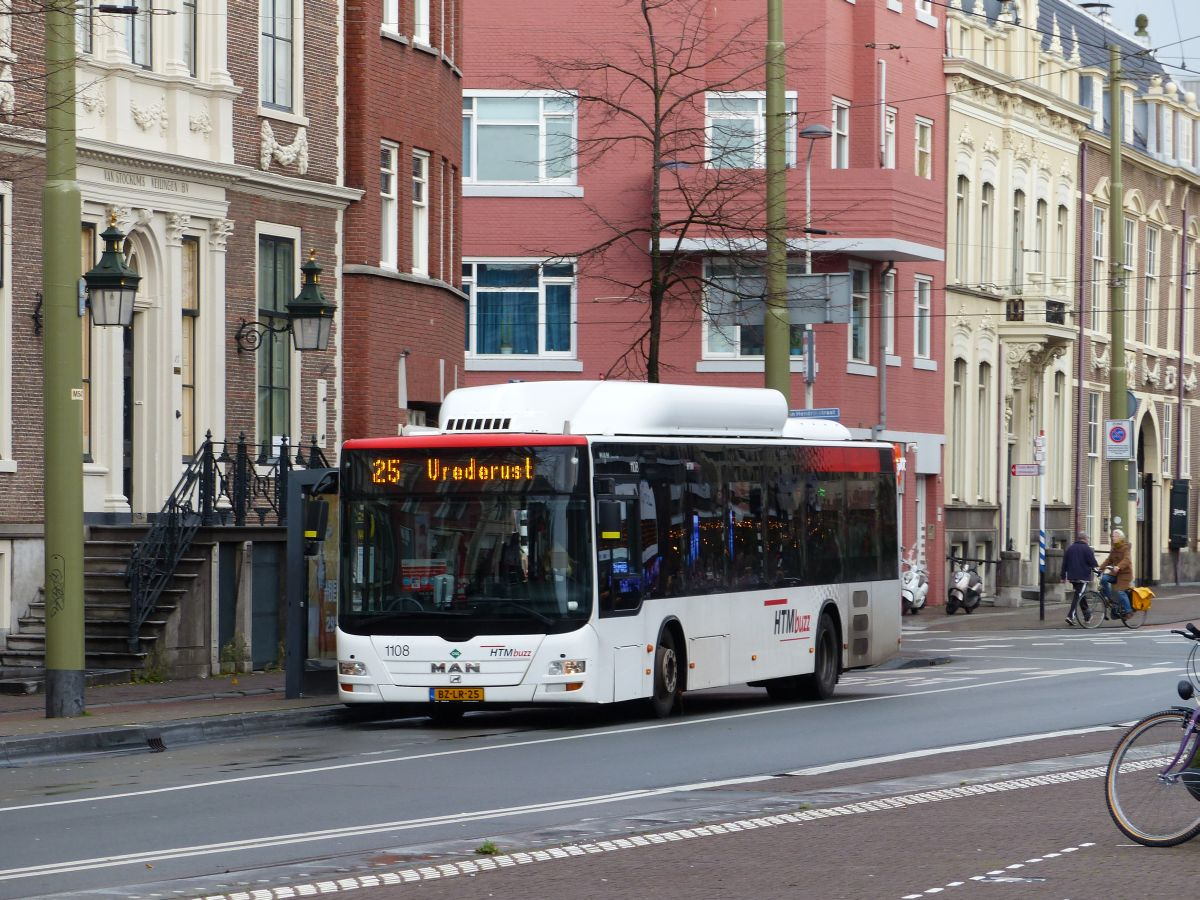 HTMbuzz Bus 1108 MAN Lion's City A21 CNG Prinsegracht, Den Haag 13-11-2019.